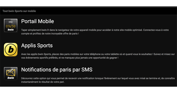 Application mobile Bwin