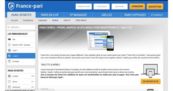 Application mobile France Pari