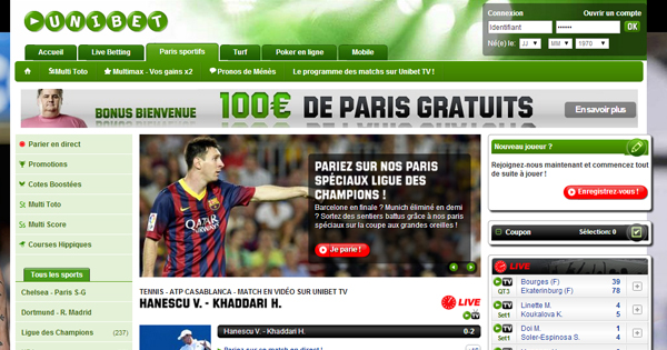 Avis Unibet : Interface de paris sportifs