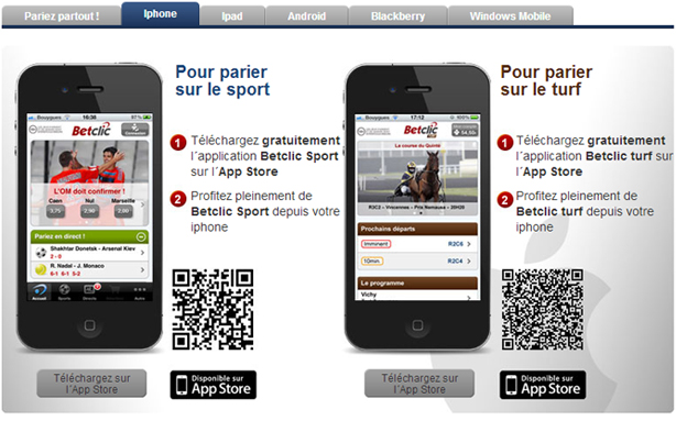 BetClic mobile ipad iphone paris sportifs
