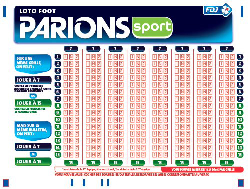 Loto Foot 7 et 15 FDJ grille paris sportifs