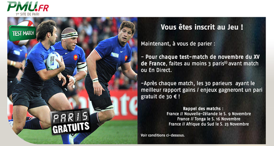 PMU freebets paris rugby