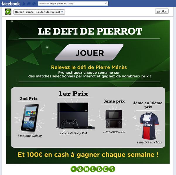 Défi Facebook, Unibet