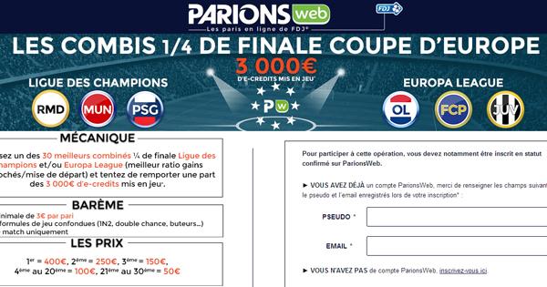 ParionsWeb : Combiné Coupe d'Europe