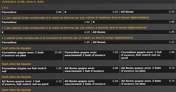 Pronostic Fiorentina AS Rome, 19 avril 2014