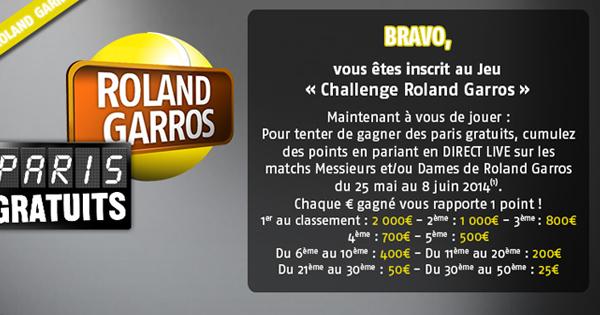 Roland Garros 2014 : Bonus PMU en Live