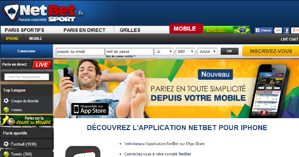 Netbet : application mobile (iPhone) pour paris sportifs