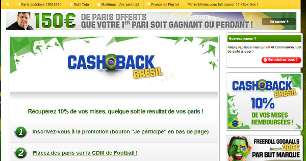 Unibet : Cash Back Coupe du Monde 2014