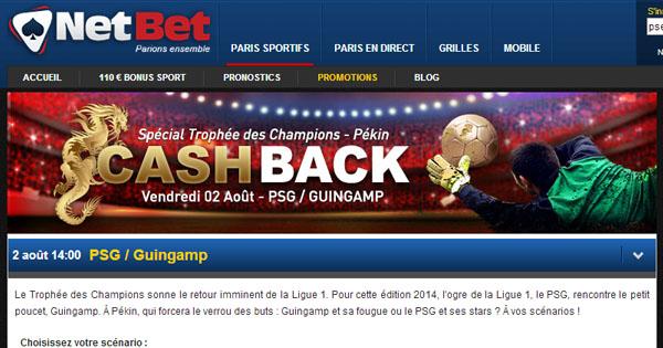 Trophée des Champions 2014 : Cash Back Netbet