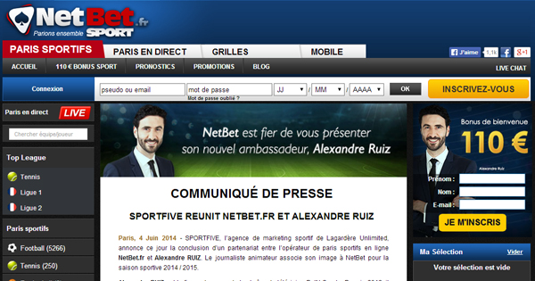 Netbet : Alexandre Ruiz, nouvel ambassadeur