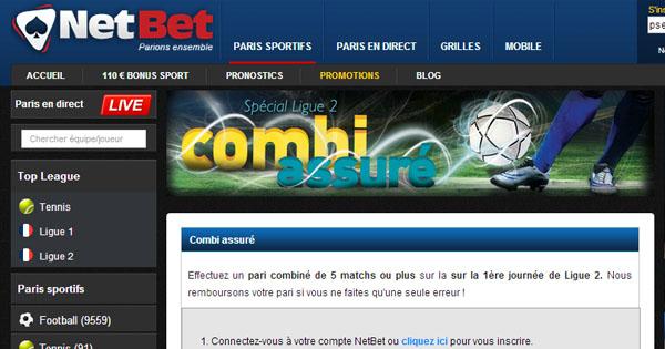 Netbet : combi assuré Ligue 2