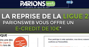 ParionsWeb : Ligue 2 Freebet