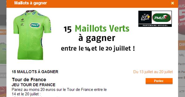 PMU : 20 Maillots verts à gagner sur le Tour de France