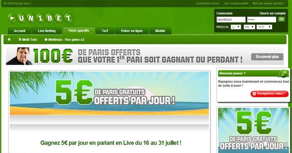Freebet Unibet : 80 euros offerts
