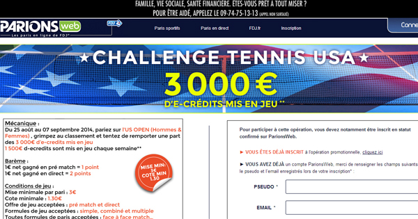 ParionsWeb : Challenge de tennis US Open