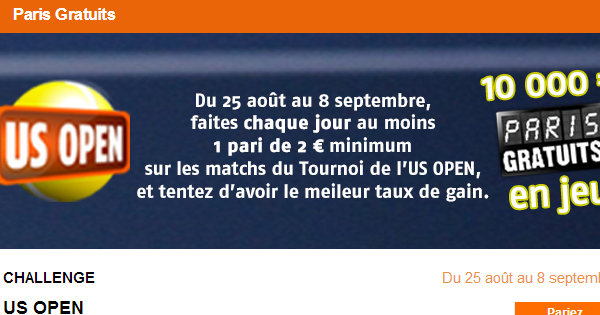 US Open : 10.000€ chez PMU
