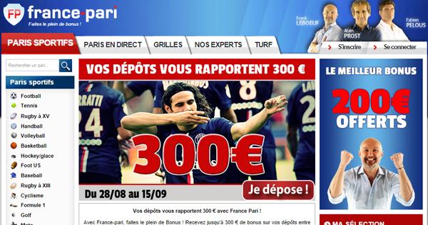 France Pari : Bonus proportionnel jusqu'à 300 euros