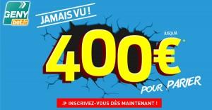 Genybet : 400€ pour parier