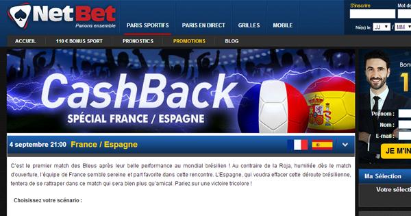 Netbet Cash Back : France Espagne