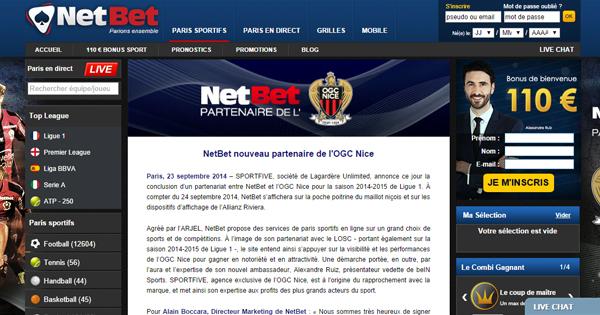 Netbet, partenaire OGC Nice