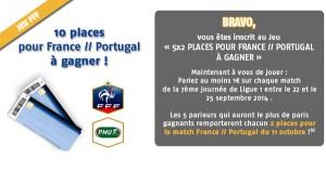 PMU : Places offertes pour France Portugal
