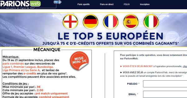 Top 5 européen chez ParionsWeb