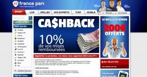 France Pari : Cashback en paris sportifs