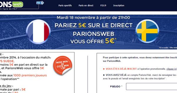 France Suède : Freebet ParionsWeb