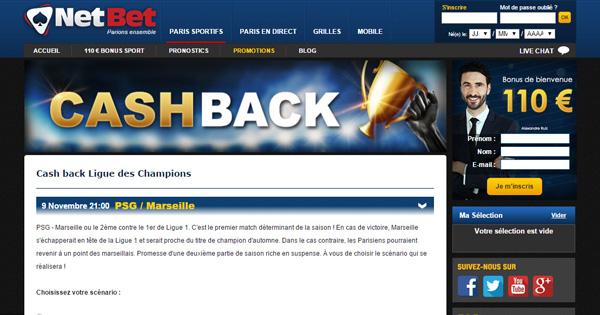 Cash back Netbet sur PSG OM