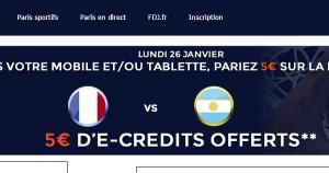 ParionsWeb : Bonus France Argentine