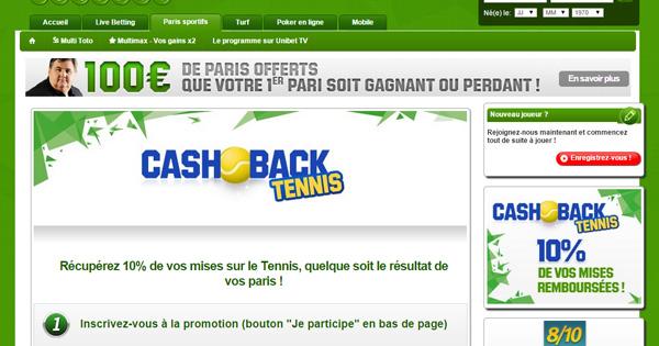 Unibet rembourse 10% sur le tennis