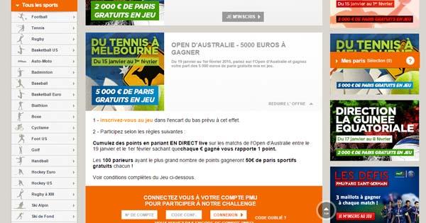 5000€ sur l'Open d'Australie chez PMU