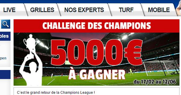 Challenge France Pari, spécial Ligue des Champions