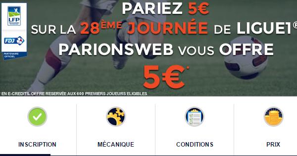 ParionsWeb offre 5€ sur la Ligue 1