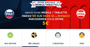 PSG Monaco : Bonus ParionsWeb