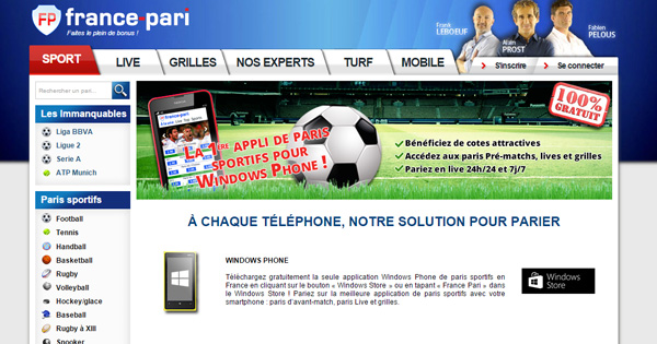Paris sportifs sur Windows Phone