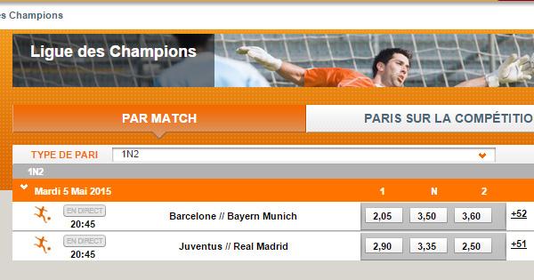PMU : Cotes pour les 1/2 finales de Ligue des Champions 2015