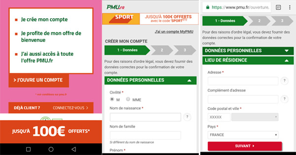 Inscription mobile PMU